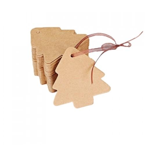 100 Pcs Christmas Tree Shape Blank DIY Kraft Paper