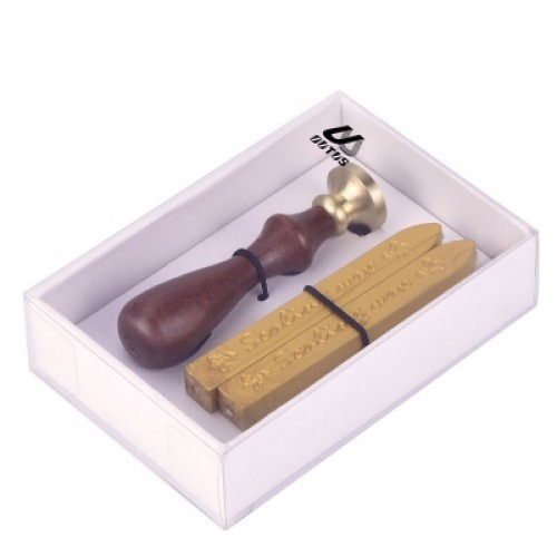 2 Piece Gold Antique Manuscript Sealing Wax Sticks with Wick and 1 Piece Seal Stamp