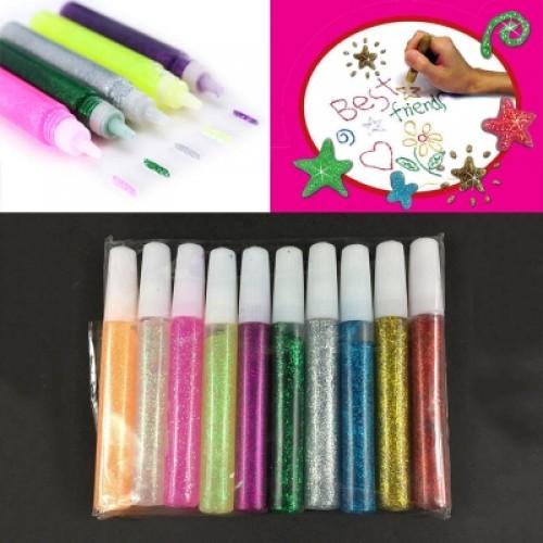 10 Pcs Colorful Craft Glitter Glue DIY Glitter Pens for Graffiti Drawing Poster Decoration