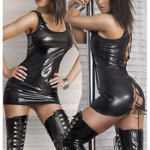 sleevelss Dress Wetlook PVC Fancy Clubwear Outfits S-XL