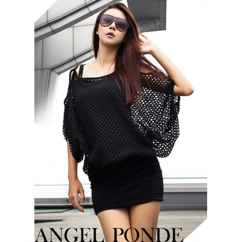 Party Mesh smock Black/White One Size