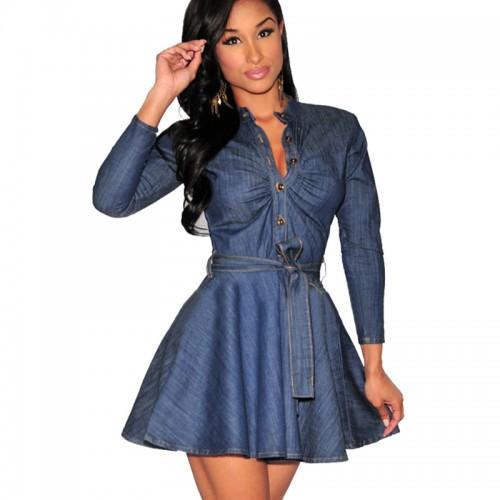 Jean long sleeves Shirt Dresses