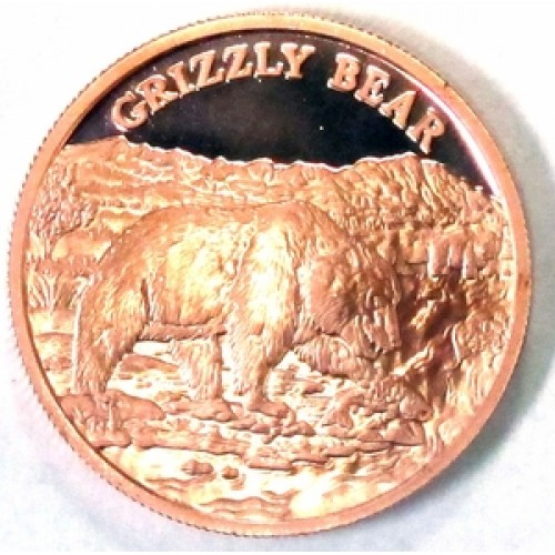 1 oz. .999 Fine Copper Medallion- Wildlife Series- Grizzly Bear