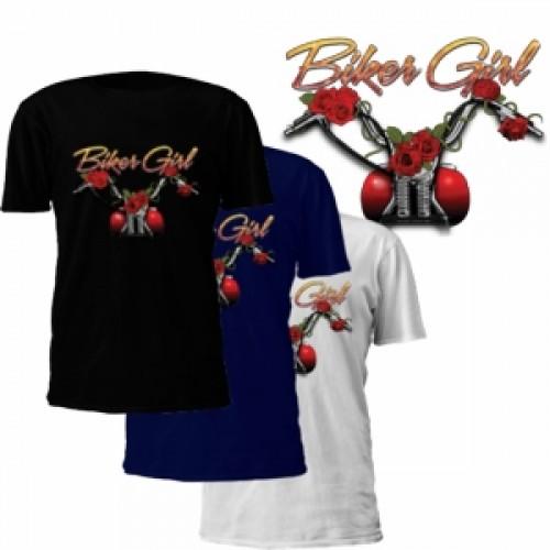"""""""Biker Girl"""" Roses T-Shirt"""