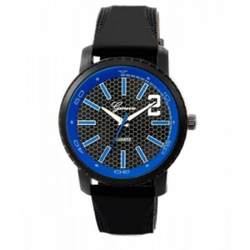 "Geneva ""Elwood"" Black/Blue Watch w/ Silicon Band"