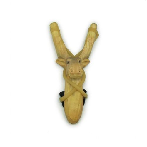 Hand Carved Wooden Slingshot- Moose