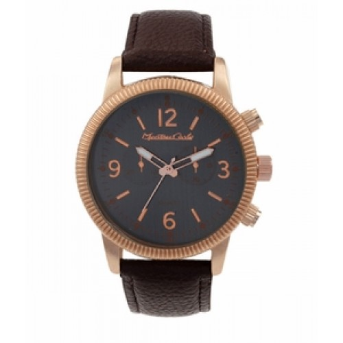 """Montres Carlo """"Brock"""" Copper Watch w/ Brown Faux Leather Band"""