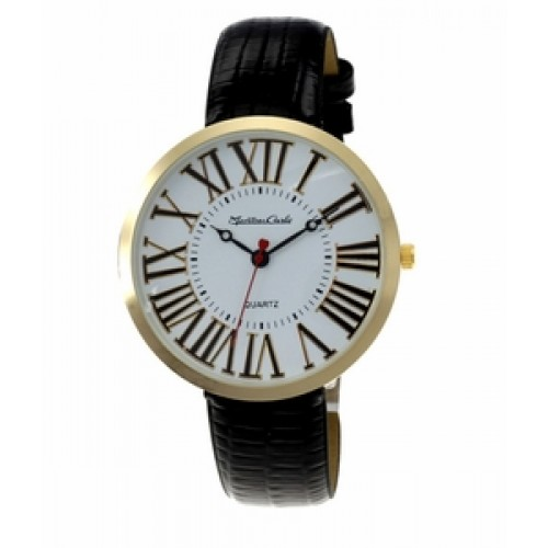 """Montres Carlo """"Jean"""" Gold Watch w/ Black Faux Leather Band"""