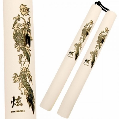 "White/Gold 12"" Foam Training Nunchucks w/ Dragon Designs"