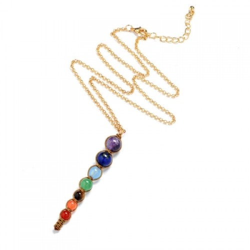 Multicolor 7 Chakra Healing Balance Beads Necklace