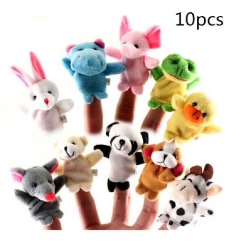 10pcs Different Cartoon Animal Finger Puppets Soft Velvet Dolls Props Toys
