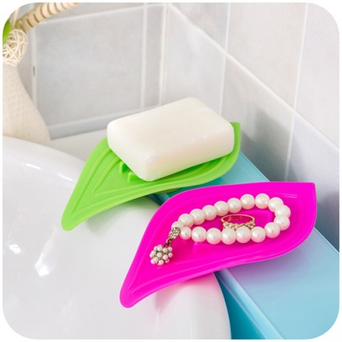 2PCS/Set Multifunction Leave Shape Soap Box Kitchen Bathroom Plastic Sponge Soap Case Holder w/ Non-slip Ring