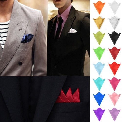Men Suit Pocket Towel Solid Color Handkerchief Small Square Wedding Party Satin Hanky