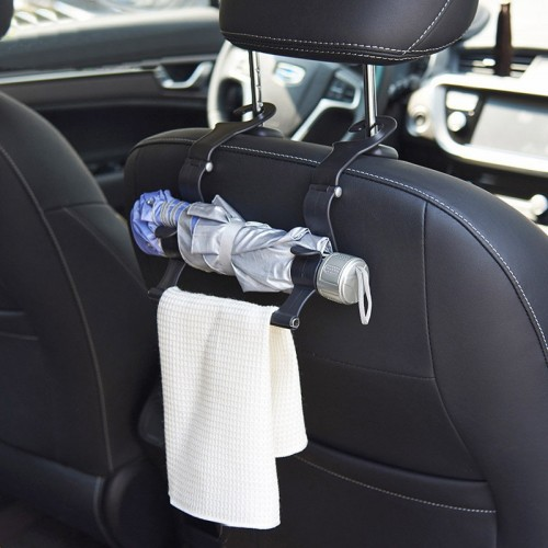 Car Accessory Car Seat Hook Multi Function Umbrella Holder Hook Car Storage Towel Holder(Black)