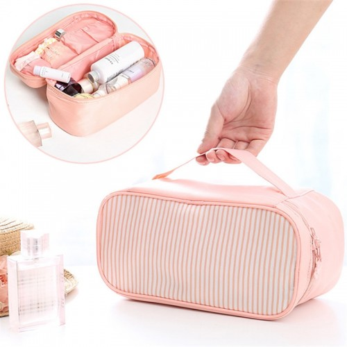 Large Capacity Cosmetics Clothes Storage Bag Stripe Style Waterproof Bag for Travel Outdoor