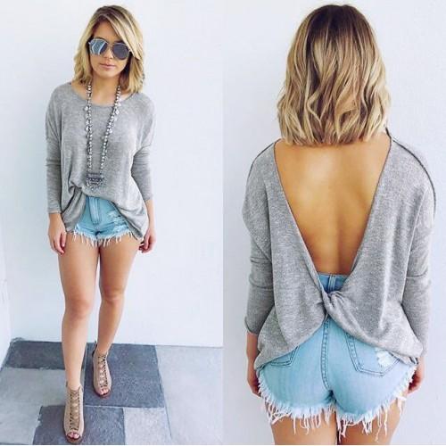 casual gray backless t shirt loose tops nightclub shirts