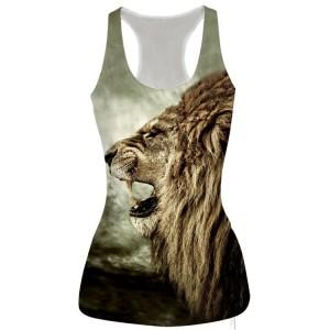 Animal 3D Print Lion Head 3D Vest