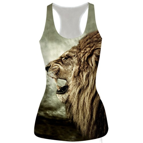 Animal 3D Print Lion Head 3D Vest