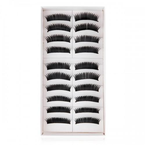 10 Pairs of Natural Long Black Stems Thick False Eyelashes