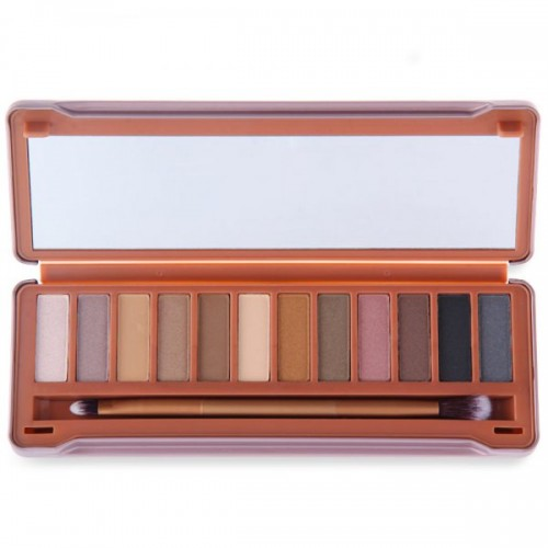 12 Colors Matte Pigment Glitter Eyeshadow Palette w Brush Mirror Makeup Set - #1