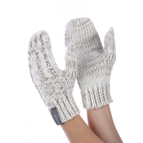 CABLE KNIT MITTENS (BEIGE)