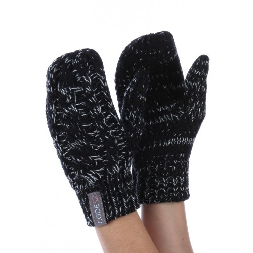 CABLE KNIT MITTENS (BLACK)