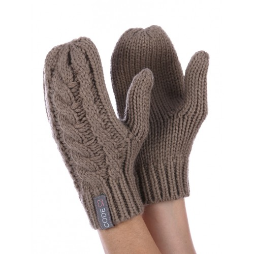 CABLE KNIT MITTENS (KHAKI)