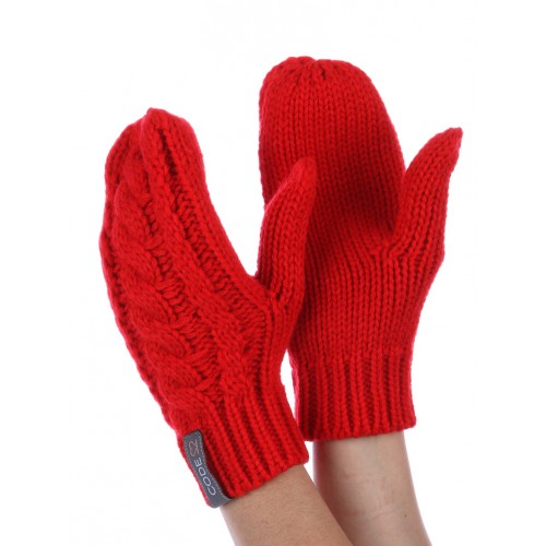 CABLE KNIT MITTENS (RED)