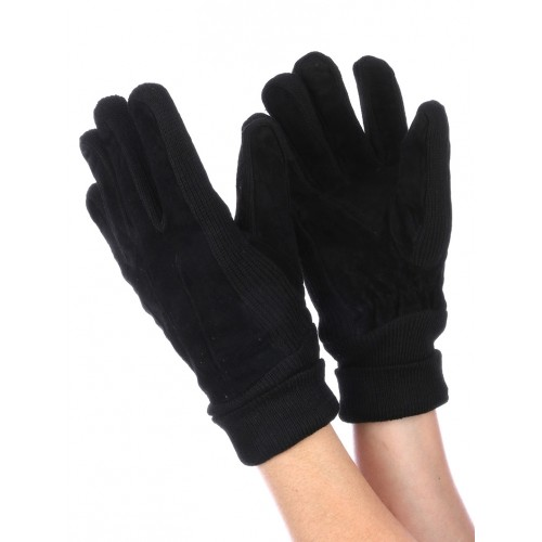 FLEECE LAYERED SUEDE KNITTED WOMENS GLOVES (BLACK)