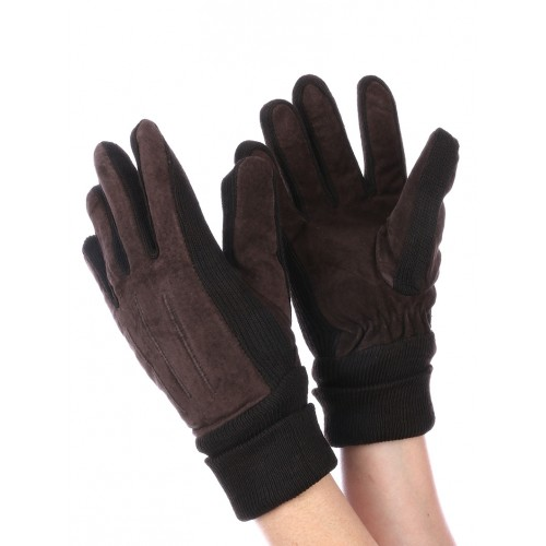 FLEECE LAYERED SUEDE KNITTED WOMENS GLOVES (BROWN)