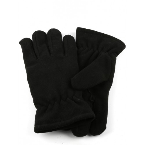 DOUBLE LAYERED MENS FLEECE GLOVES (BLACK)