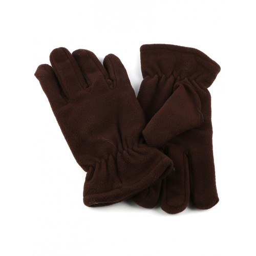 DOUBLE LAYERED MENS FLEECE GLOVES (BROWN)