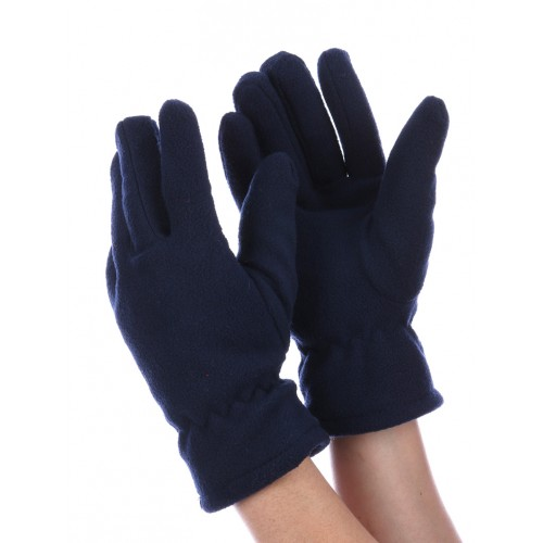 DOUBLE LAYERED FLEECE GLOVES (NAVY BLUE)