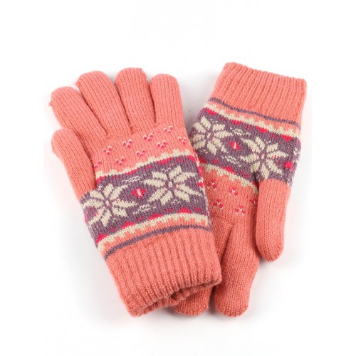 FLEECE LAYERED KNITTED SNOWFLAKE GLOVES (PINK)