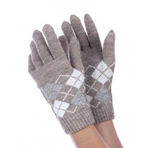 FLEECE LAYERED KNITTED ARGYLE GLOVES (BROWN)
