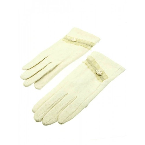 FLORAL LACE TRIM WINTER GLOVES (WHITE)