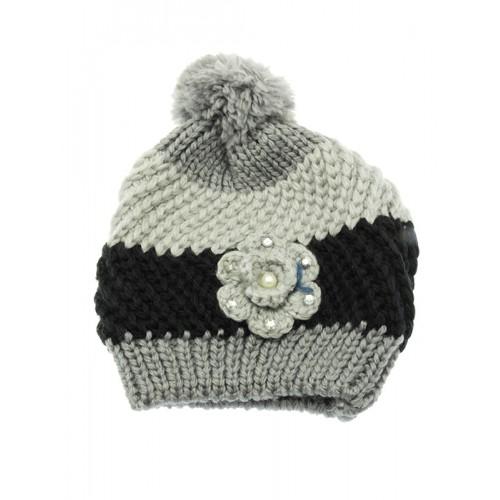 POM POM WINTER BEANIE  HAT AND CAP (GRAY)