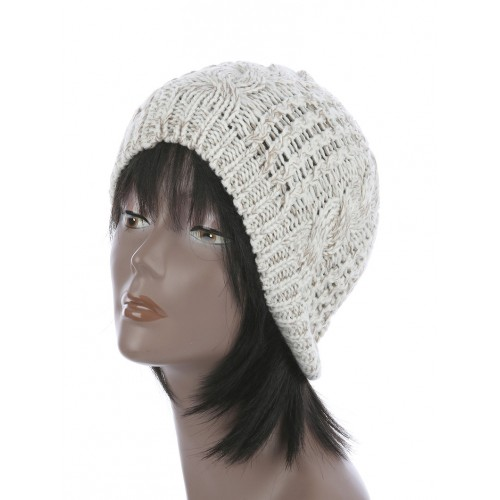 CABLE KNIT WINTER BEANIE  HAT AND CAP (BEIGE)