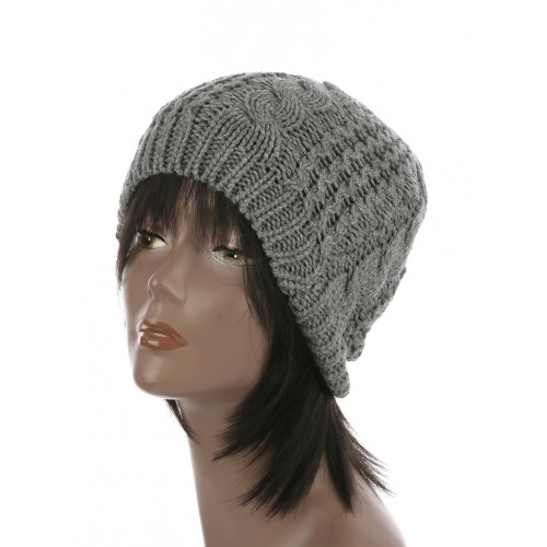 CABLE KNIT WINTER BEANIE  HAT AND CAP  (GRAY)