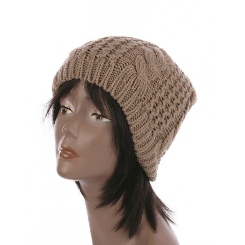 CABLE KNIT WINTER BEANIE  HAT AND CAP (KHAKI)