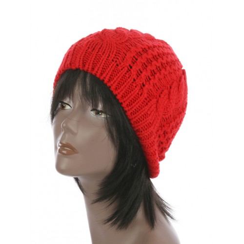CABLE KNIT WINTER BEANIE  HAT AND CAP (RED)