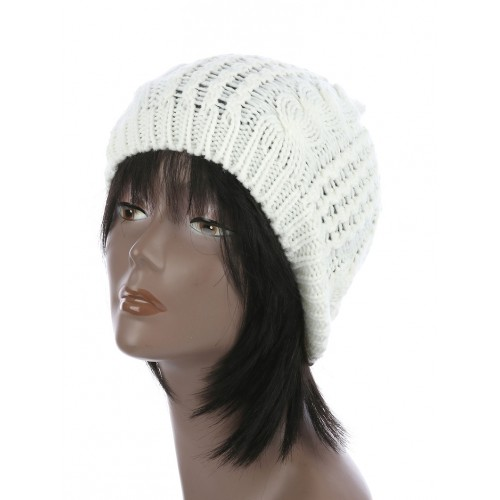 CABLE KNIT WINTER BEANIE  HAT AND CAP (WHITE)