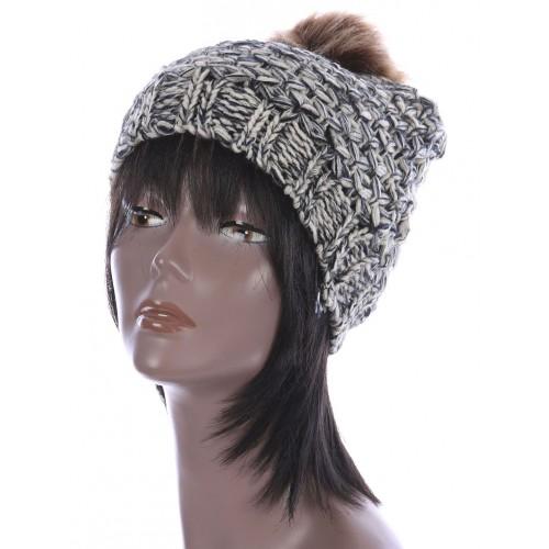 FAUX FUR POM POM KNIT WINTER BEANIE  HAT AND CAP (BEIGE)