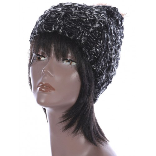 FAUX FUR POM POM KNIT WINTER BEANIE  HAT AND CAP (BLACK)