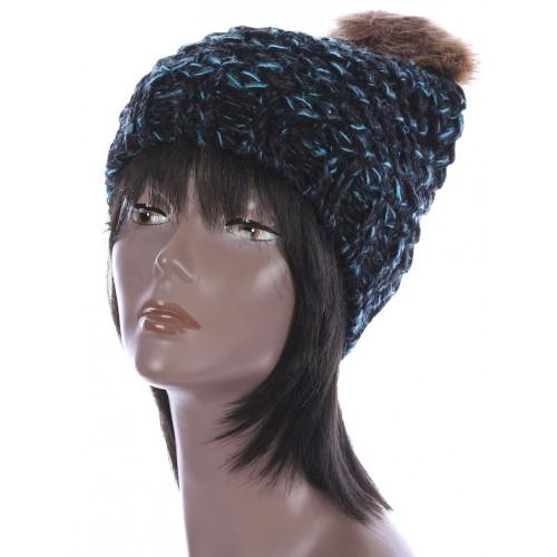 FAUX FUR POM POM KNIT WINTER BEANIE  HAT AND CAP (BLUE)