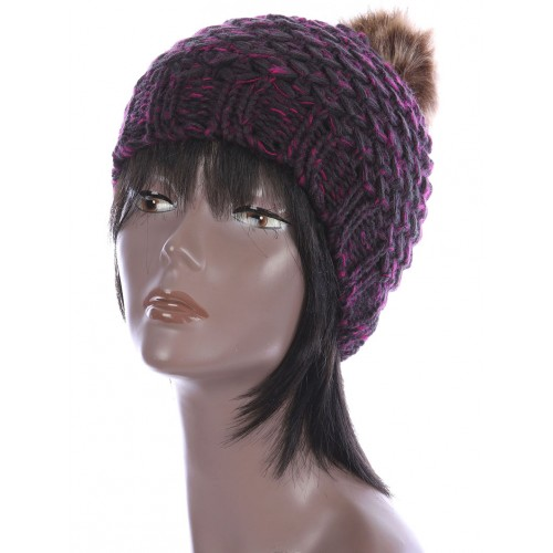 FAUX FUR POM POM KNIT WINTER BEANIE  HAT AND CAP (PINK)