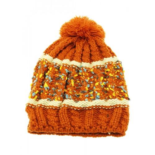 POM POM WINTER BEANIE  HAT AND CAP (ORANGE)