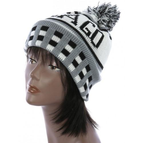 POM POM KNIT WINTER BEANIE  HAT AND CAP  (GRAY)
