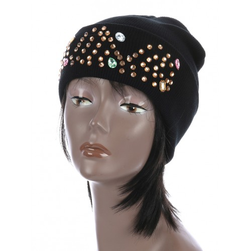 COLOR LUCITE STONE WINTER BEANIE  HAT AND CAP  (BLACK)
