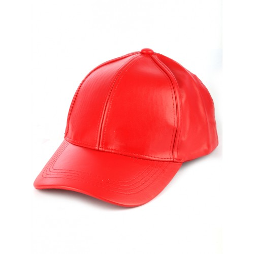 FAUX LEATHER ADJUSTABLE BASEBALL  HAT AND CAP  (RED)